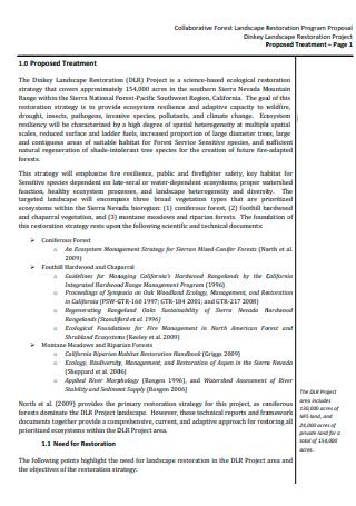 Landscape Restoration Program Proposal