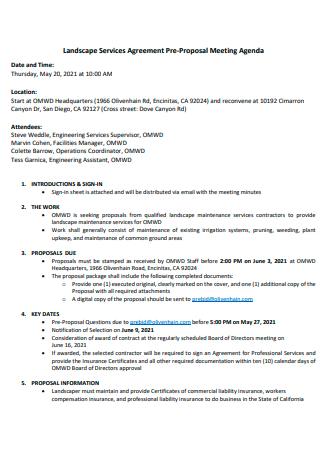 Landscape Services Agreement Pre Proposal Meeting Agenda
