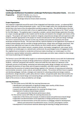 Landscape Teaching Proposal