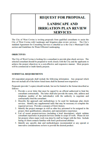 Landscape and Irrigation Plan Review Services Proposal