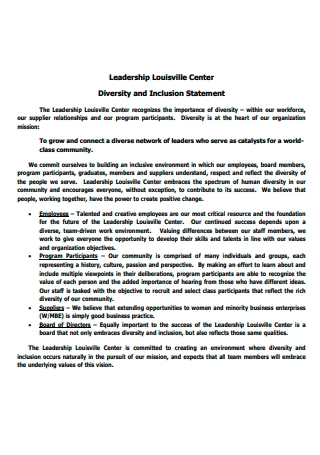 Leadership Center Diversity and Inclusion Statement