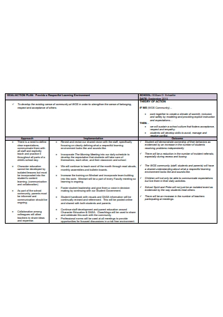 Learning Environment Action Plan