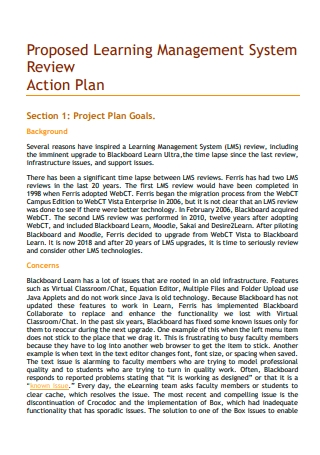 Learning Management Review Action Plan