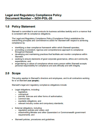 Legal and Regulatory Compliance Policy Statement