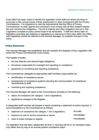 Legislative Compliance Policy Statement