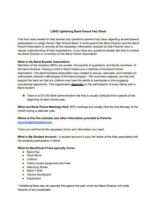 Lightening Band Parent Fact Sheet