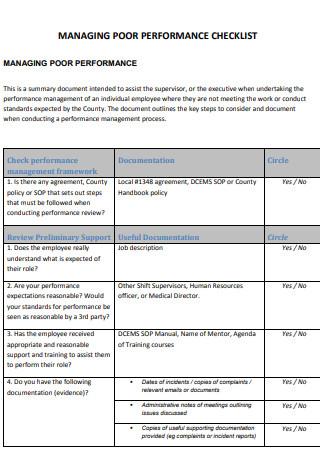 Managing Poor Performance Checklist
