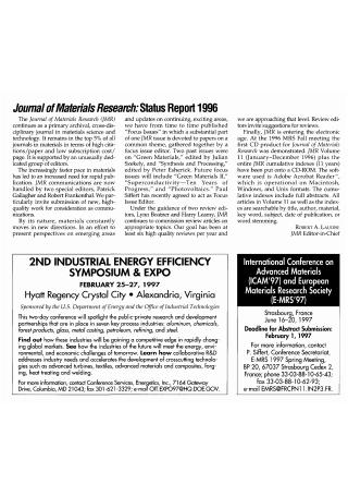 Materials Research Status Report