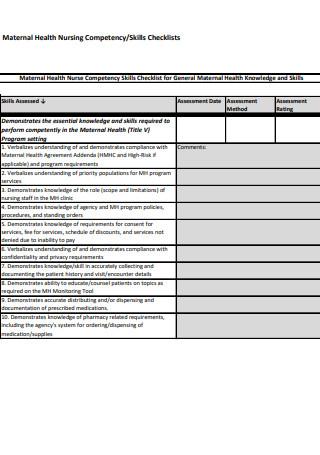 Maternal Health Nursing Competency Checklists