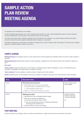 Meeting Agenda Action Plan