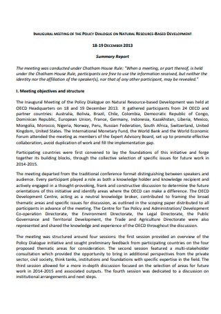 Meeting Summary Report Example