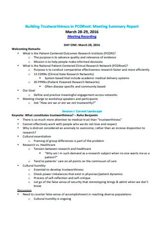 Meeting Summary Report Format