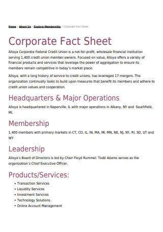 Membership Corporate Fact Sheet
