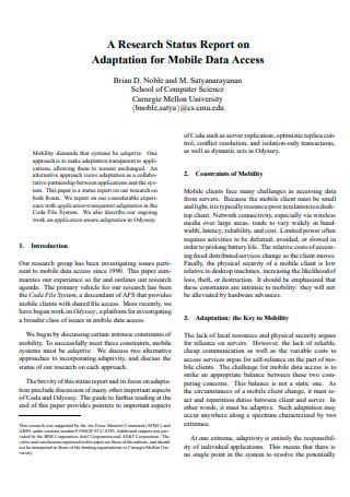 Mobile Data Access Research Status Report
