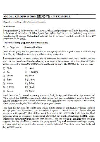 Model Group Work Report