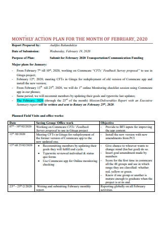 Monthly Action Plan in PDF
