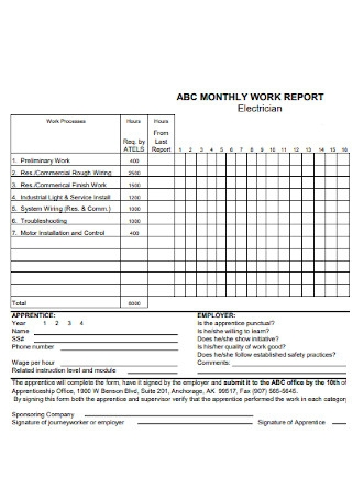 Monthly Work Report
