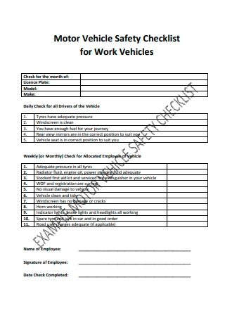 Motor Vehicle Safety Checklist Example