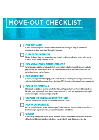 Move Out Checklist Example
