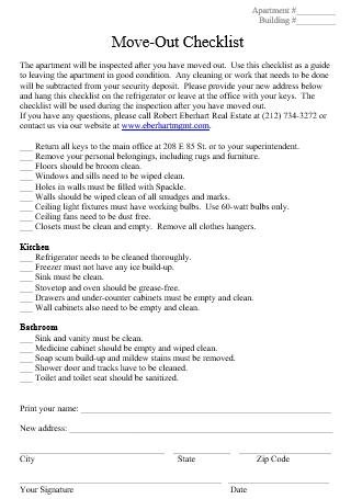 Move Out Checklist in DOC