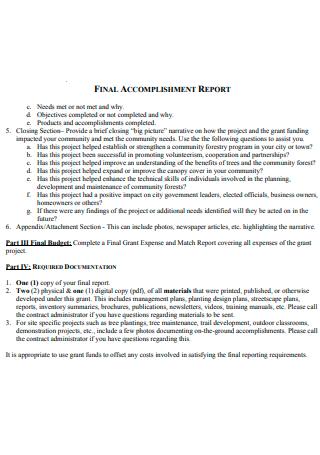 Narrative Final Accomplishment Report