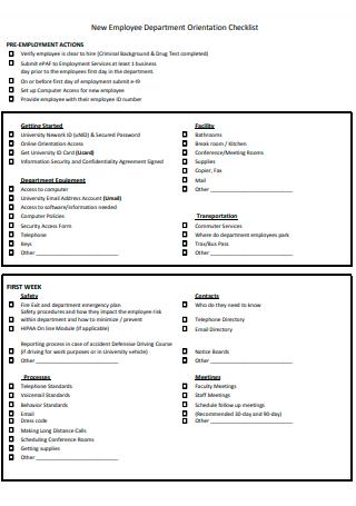 New Employee Department Orientation Checklist