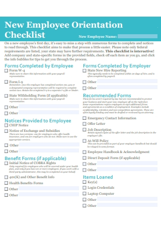 New Employee Orientation Checklist Example