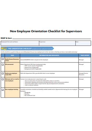 New Employee Orientation Checklist For Supervisors