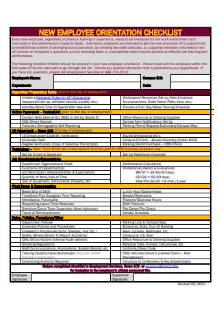 New Employee Orientation Checklist in PDF