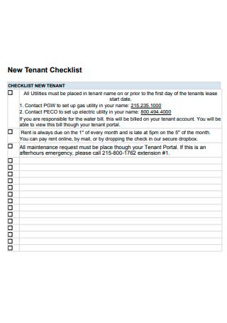 New Tenant Checklist