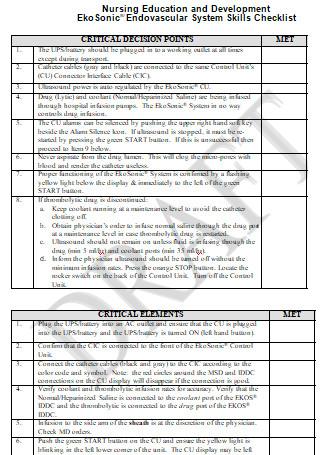 Nurse Competency Checklist Format