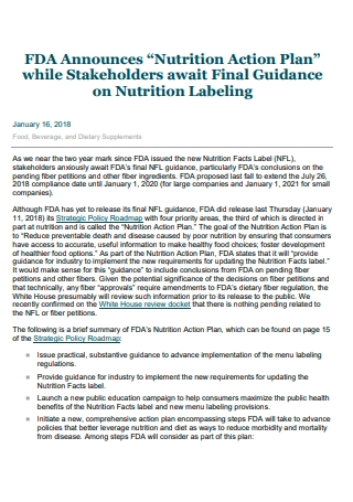 Nutrition Action Plan Example