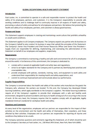 Occupational Health and Safety Statement