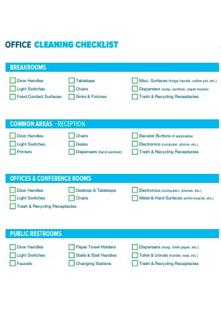 Office Cleaning Checklist Format