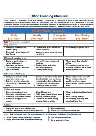 Office Cleaning Checklist in PDF