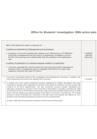 Office For Student Investigation Action Plan Template