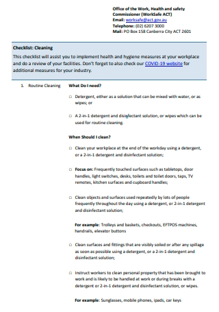 Office of Work Cleaning Checklist