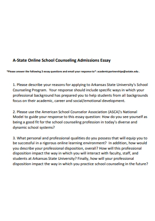 Online School Counseling Admissions Essay