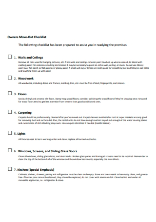 Owners Move Out Checklist