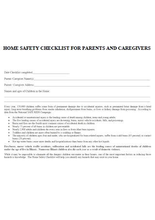 Parents and Caregiver Home Safety Checklist Template