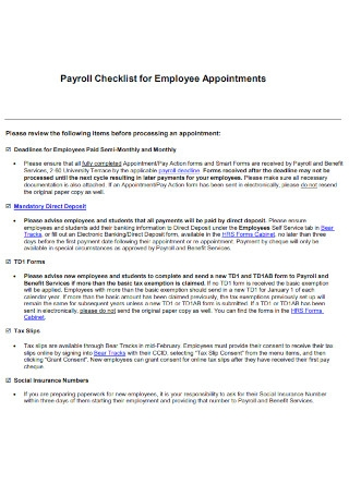 Payroll Checklist for Employee Appointments