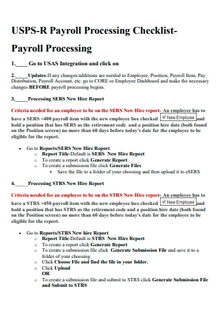 Payroll Processing Checklist Example