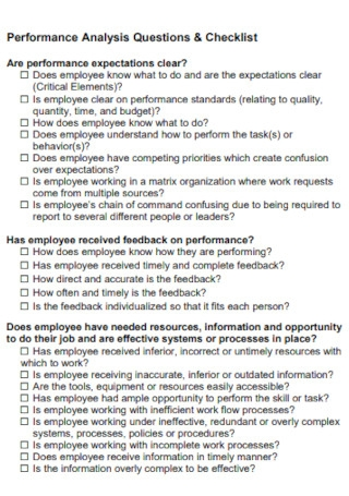 Performance Analysis Questions Checklist