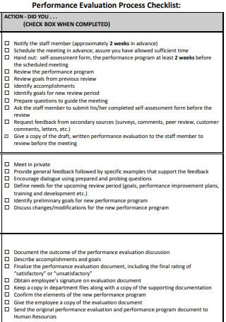 Performance Evaluation Checklist