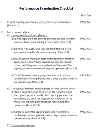 Performance Examination Checklist