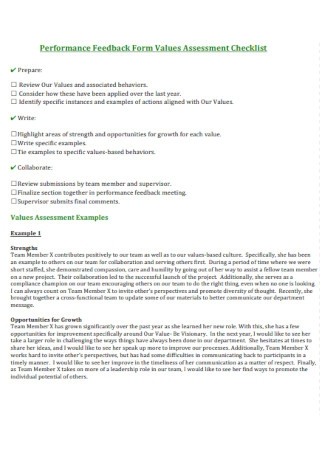 Performance Feedback Form Values Assessment Checklist