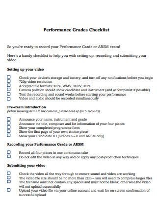 Performance Grades Checklist