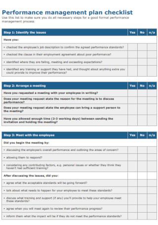 Performance Management Plan Checklist