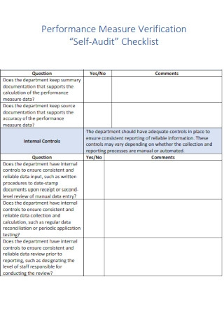 Performance Measure Verification Self Audit Checklist