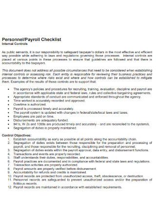 Personnel Payroll Checklist